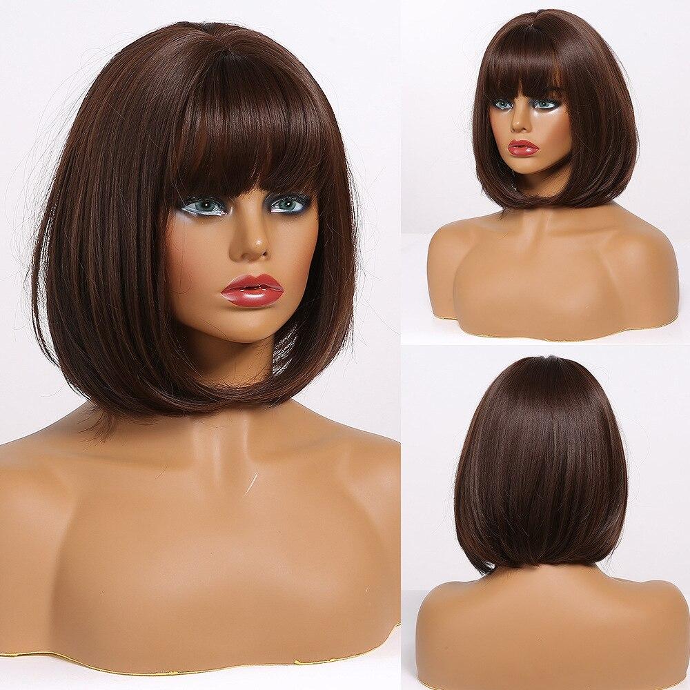 EASIHAIR Dark Brown Bob Wigs Short Synthetic Wigs for Women Heat Resistant High Temperature Fiber Cosplay Wig Natural Hair