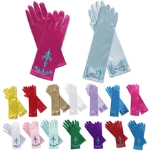 Girls Princess Cosplay Gloves Elsa Anna Dress Up Accessories Printing Bow Gloves Lace Mitten Kids Fa