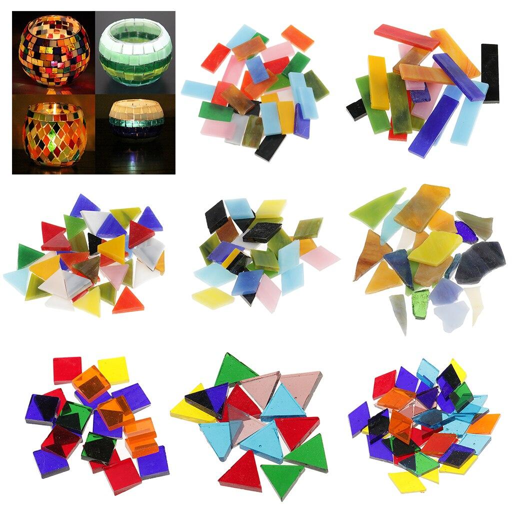 Mosaicos de cristal de colores irregulares variados de 200g para suministros para manualidades, adornos de pared para baño y hogar