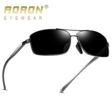 AORON clásicas Retro para hombre gafas de sol polarizadas hombres rectángulo gafas de sol de marco de aluminio de UV400 hombre gafas