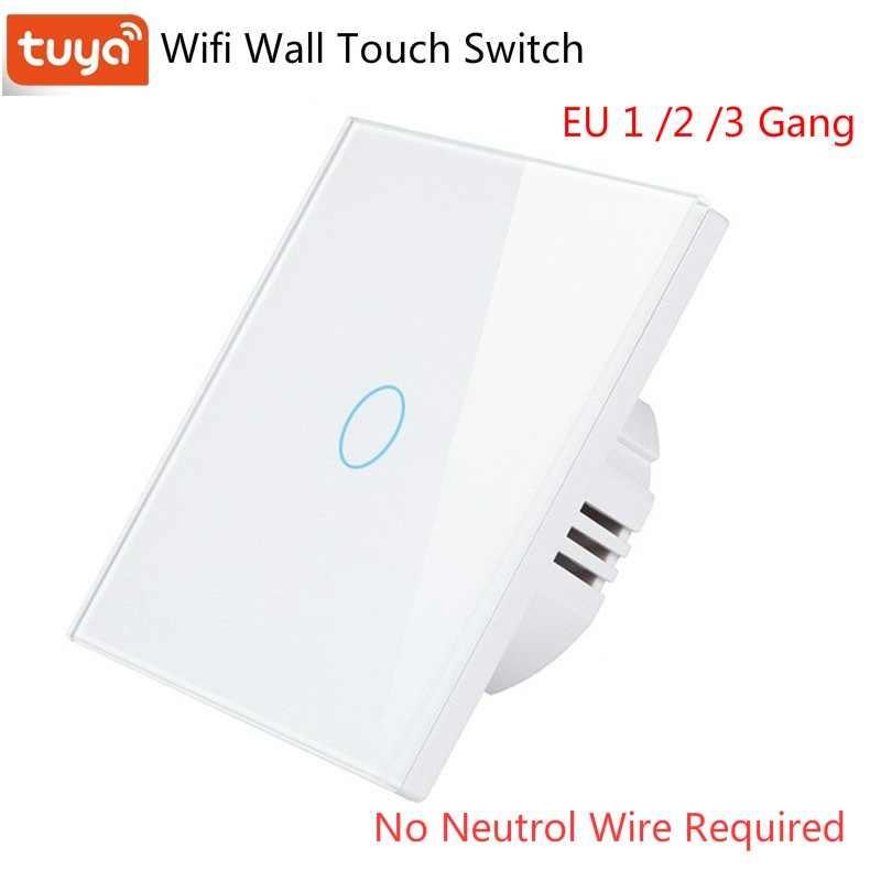 Eu 1 2 3 Gang Tuya Wifi Smart Switch Single Fire Wire No Neutral Wire Switch Wifi Wall Light Switch Touch Panel Rf 433mhz Remote Home Automation Modules Aliexpress