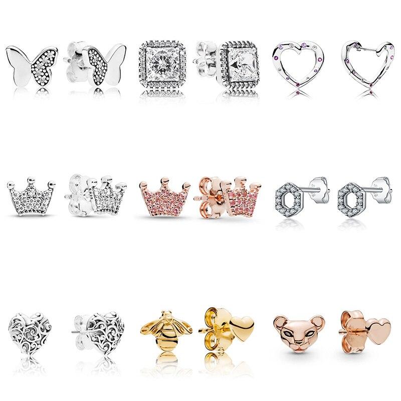 Серьги-из-стерлингового-серебра-925-пробы-«сделай-сам»-розовое-золото-Бабочка-корона-любовь-тотем-блестящие-серьги-с-кристаллами-для-жен