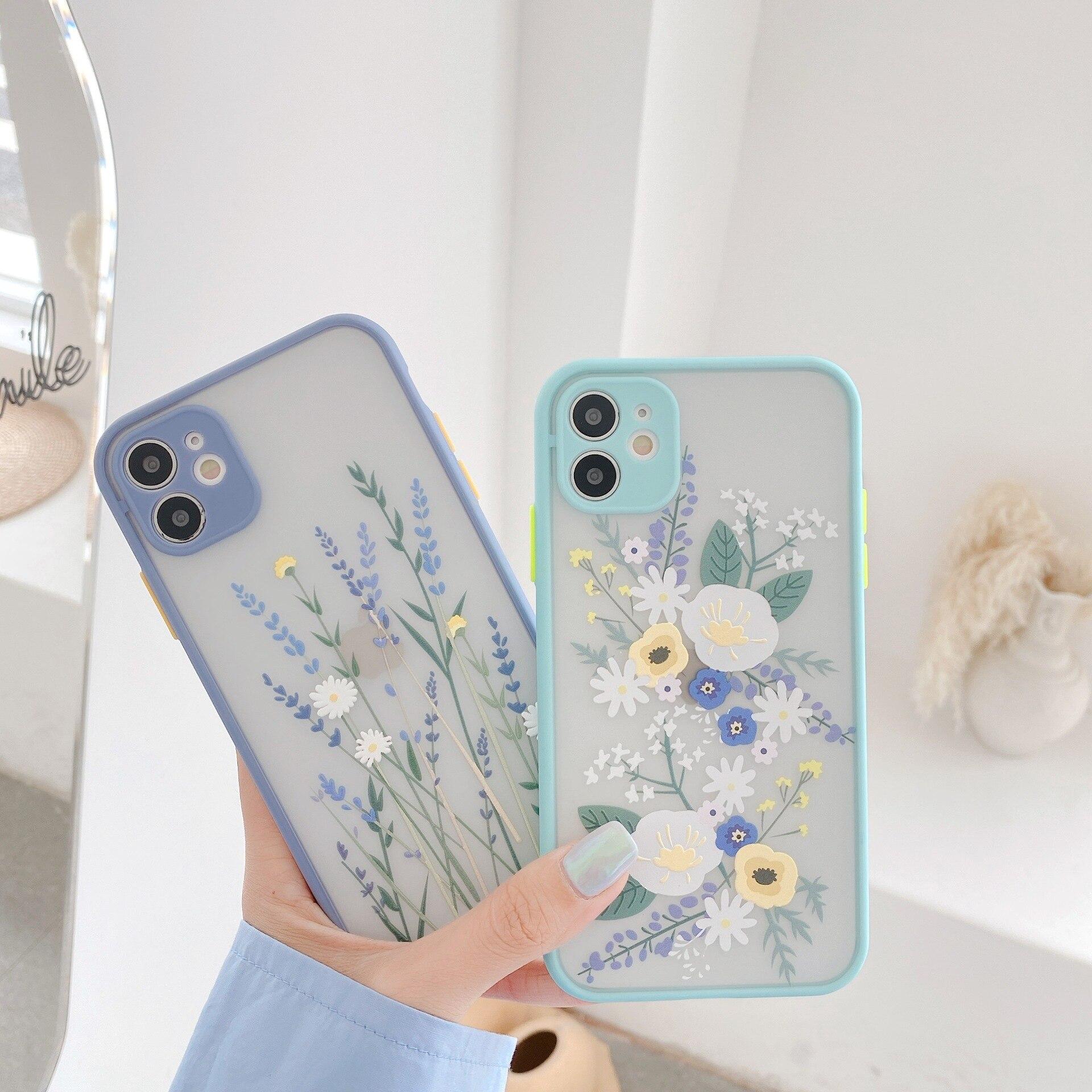 Funda de lujo de flores para iPhone 11 Pro Max X XR XS Max 7 8 Plus, funda trasera de TPU suave transparente con relieve Floral 3D