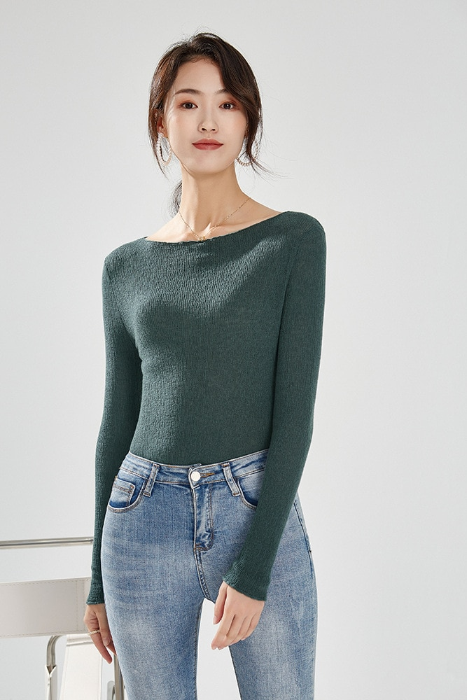 SHUCHAN Slim Wool Sweaters Slash Neck Sexy Office Lady Thin (Summer)  Winter Tops for Women 2021 Fall Winter Pullover enlarge