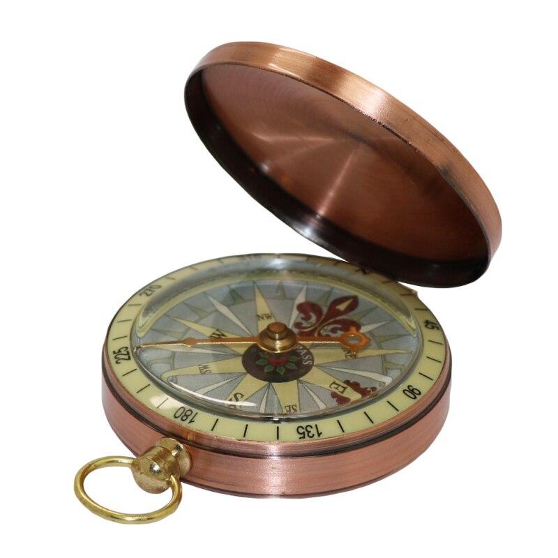 Aolikes, reloj de bolsillo de cobre para lectura, brújula Retro con tapa, brújula portátil para senderismo, navegación, brújula de supervivencia, herramienta salvaje para navegación