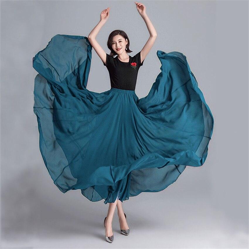 تنورة الرقص الغجر فساتين النساء الاسبانية فلامنكو الشيفون التنانير للفتيات 9 ألوان 720 درجة الأداء زي ملابس غير رسمية
