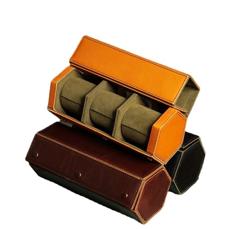 Handmade Leather Black Watch Boxes Storage Organizer Box First Layer Cowhide Watch Box Vintage Men Travel Roll Storage Box Gift
