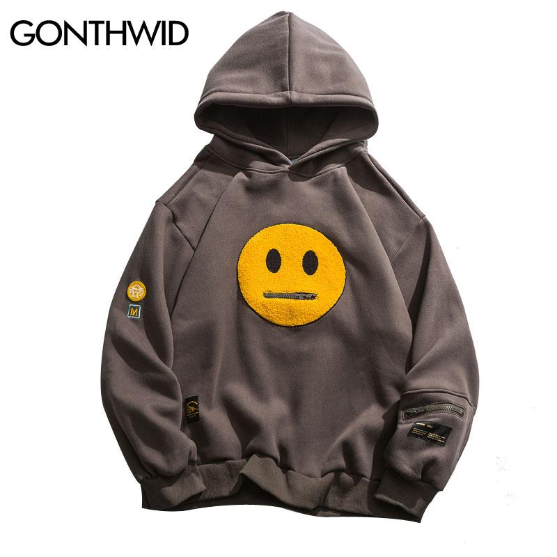 GONTHWID Zipper Pocket Smile Face Patchwork Fleece Hoodies Sweatshirts Streetwear Mens Hip Hop Casual Pullover Hooded Male Tops
