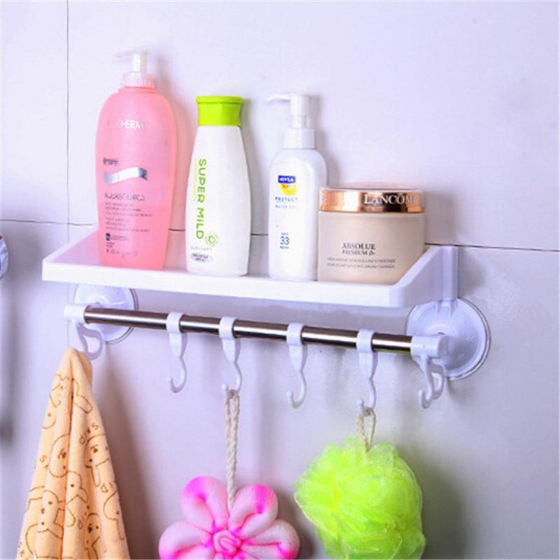 1 PC bathroom hanger hooks durable Wall Vacuum Rack Suction Cup 6 Hooks Towel Bathroom Kitchen Holder Sucker Hanger storage