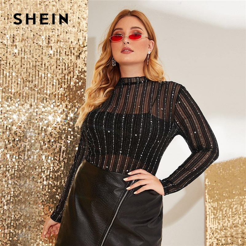 SHEIN, Top de talla grande de malla transparente a rayas con brillo, sin camisola, camisetas Sexy glamurosas de manga larga con cuello levantado de primavera para mujer