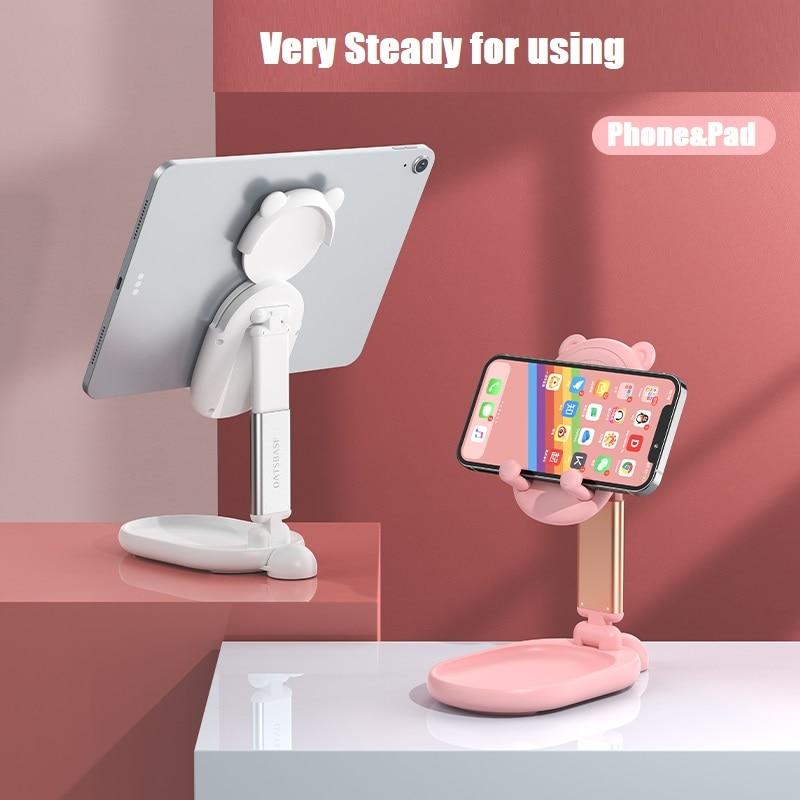Cute Mirror Desktop Phone Holder Adjustable Cell Foldable Extend Support Desk Mobile Tablet Stand For Makeup