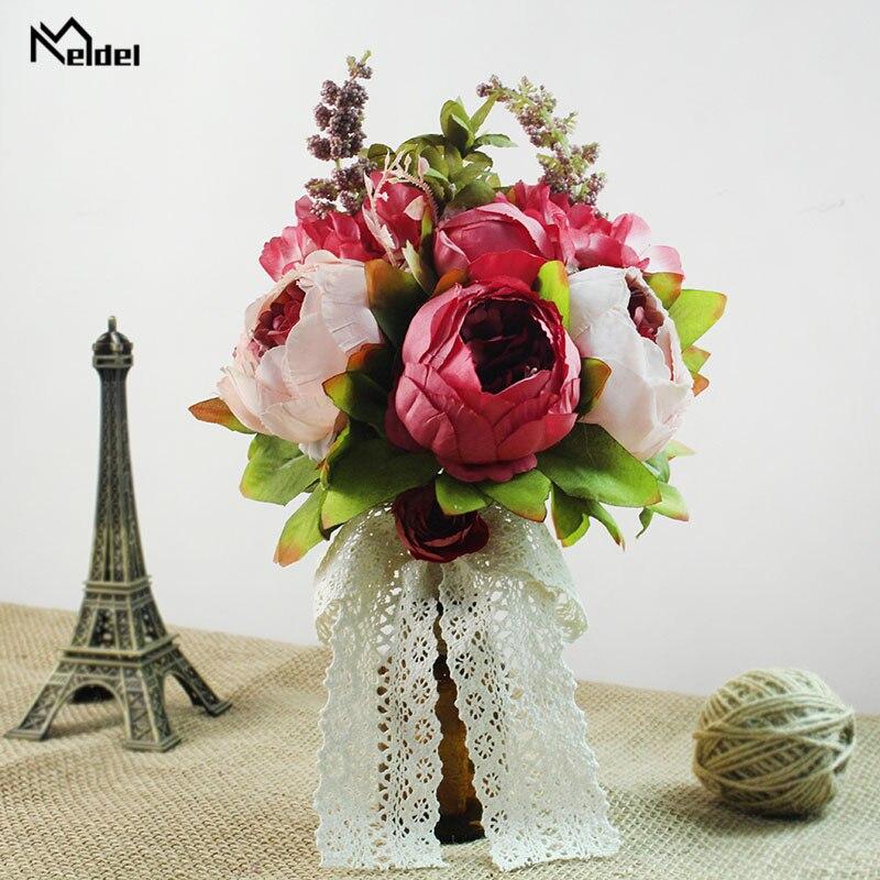 Damas de honra Noiva Rosas Brancas buquê de Casamento Buquê de Seda Rosa Flores Bouquets de Noiva Casamento Buquê de Casamento Decoração de Casa