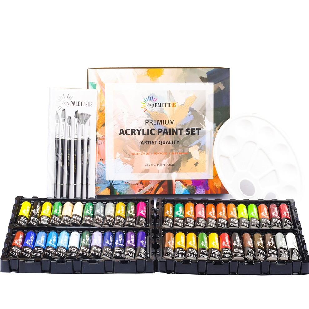 48 Pcs Acrylic Pigment Set Professional Art Supply with 48 Tubes Each 22ml Drawing Supply Hardcover Set with Extra Air Brushes