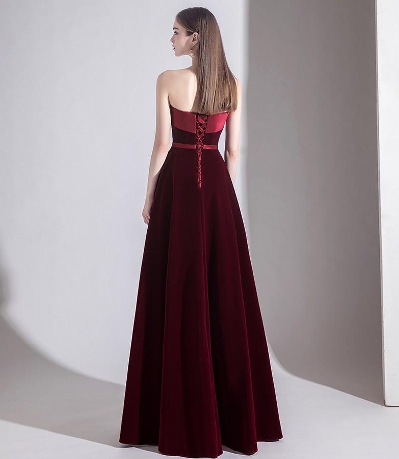 New Black/ Dark Red Strapless Long Evening Dresses 2020 A Line Velvet Girls Formal Party Dress Vintage Prom Gowns