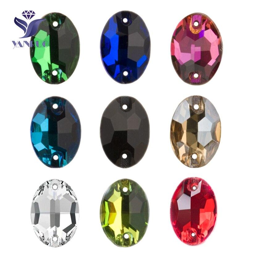 YANRUO 3210, gafas ovaladas cosidas con diamantes de imitación de cristal, piedras para coser, pegatinas de baile, apliques de costura, diamantes de imitación para vestido de novia