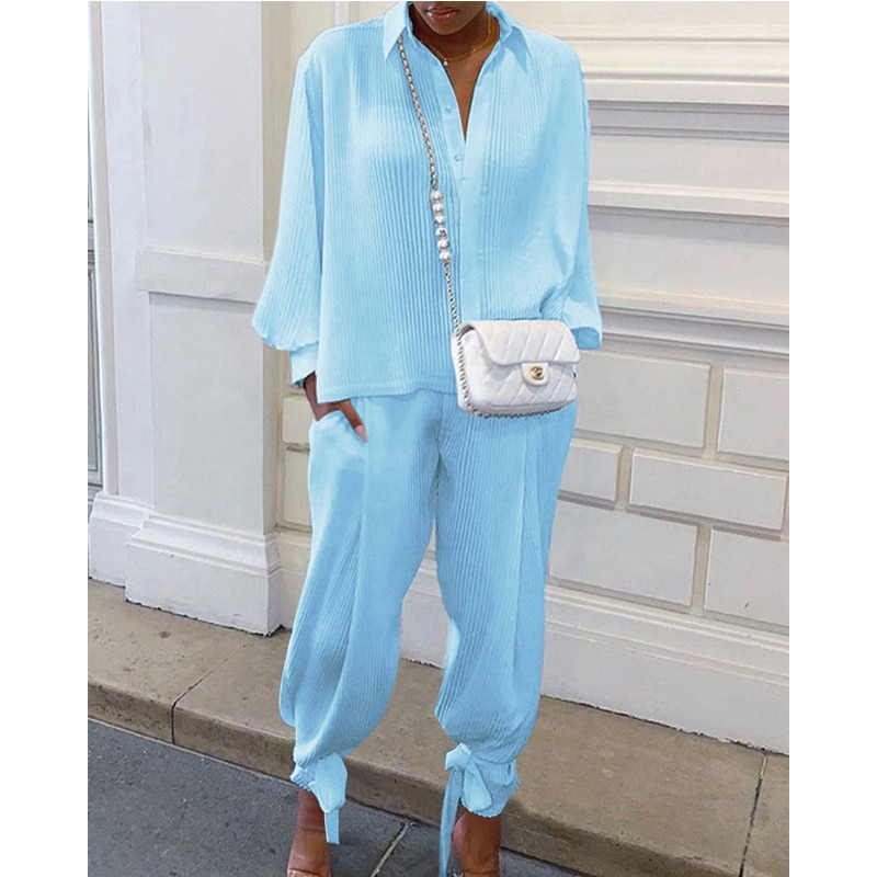 women outfit 2019 two piece set clothes top and pants spring autumn ladies tracksuits korean style plus size fashion lounge wear Women Top And Pants Tracksuits Women Autumn Spring Casual Solid Suit Long Sleeve Top+Loose Long Pants Two Piece Set