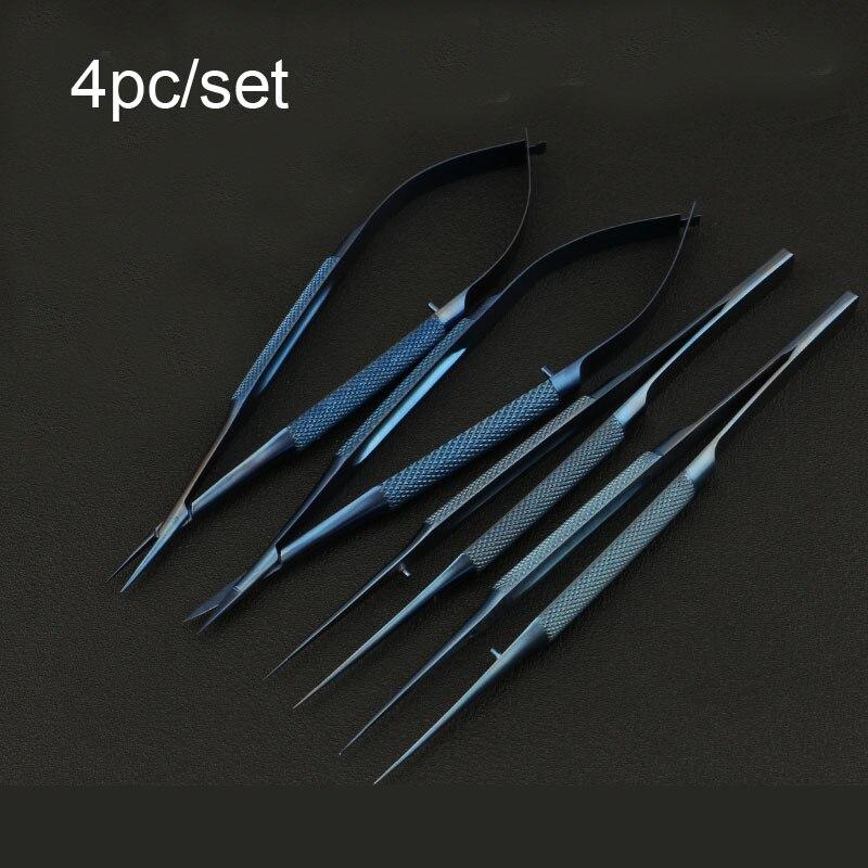 4 قطعة/المجموعة 14 سنتيمتر التيتانيوم المجهرية الآلات المجهرية الآلات كيت مقص إبرة حامل ملقط
