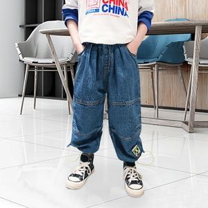 Fashion Boys' Jeans Blue Cotton Denim Pants Sewing Loose Trousers Schoolchild Casual Jeans Kids Spring Autumn Children's Clothes