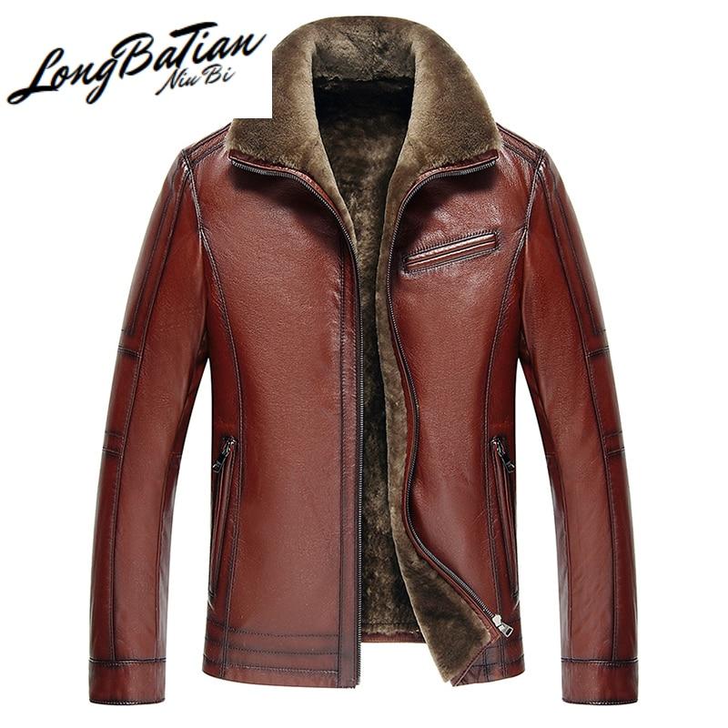 Casaco de pele de cordeiro natural l189101 kj941 jaqueta de couro genuíno dos homens de vaca real plus size jaquetas para homens