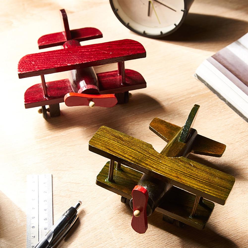 Figuras en miniatura de modelo de avión de madera americano para decoración del hogar, decoración moderna de escritorio de oficina, decoración para niños, regalos de cumpleaños y Navidad