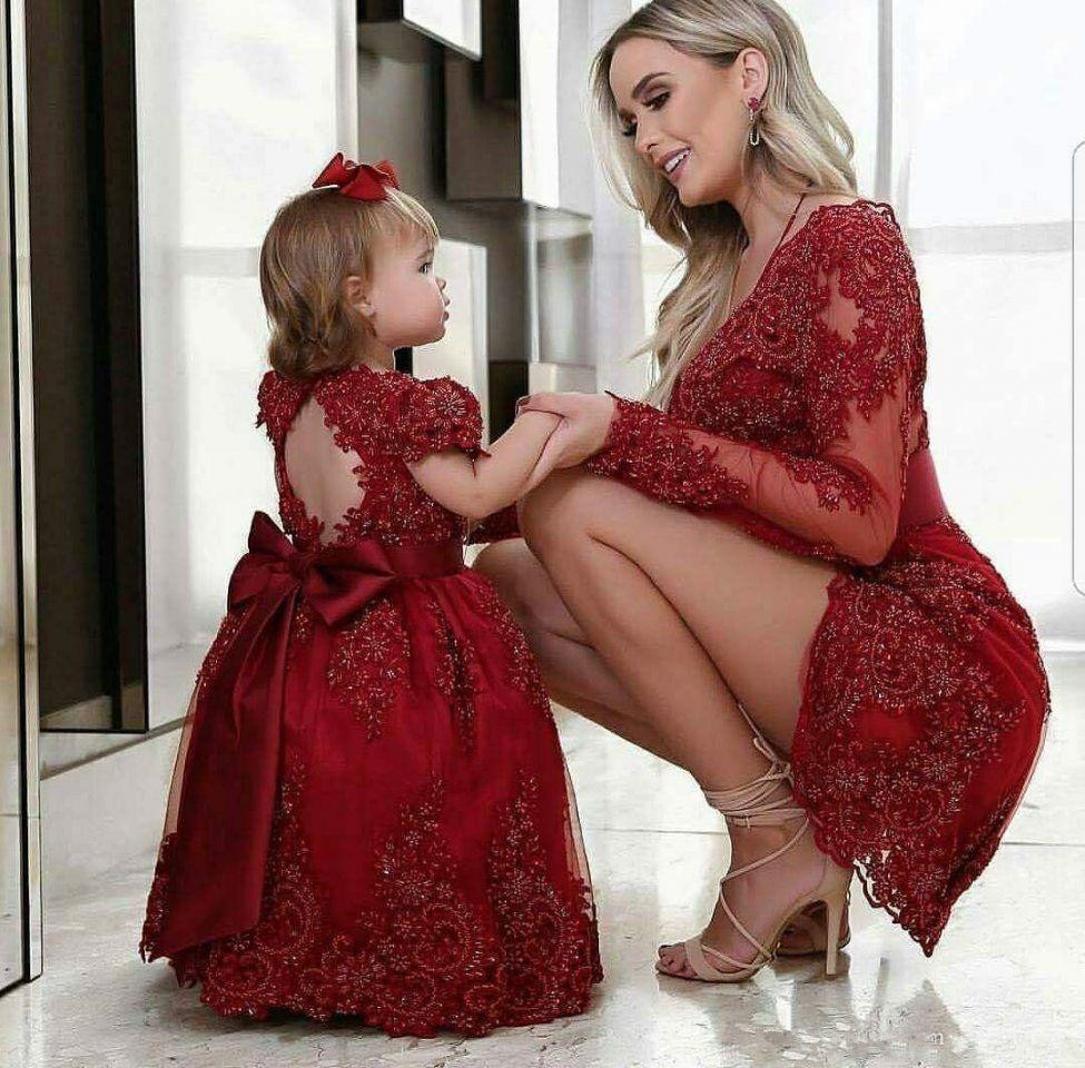 Mother  Daughter Lace Beading Christening Kid Dresses First Birthday Dresses Mommy Child Dresses Custom Made