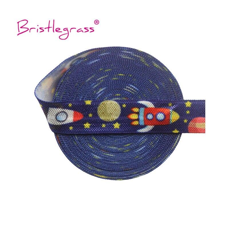 "Bristlegrass 5 Yard 5/8 ""15Mm Ruimte Rocket Star Print Foldover Elastische Foe Spandex Satijn Band Haar Band Hoofdband jurk Diy Naaien"