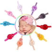 Diadema de gasa con flores para niña, cinta elástica para el pelo de color liso, accesorios para el cabello, 10 unids/lote