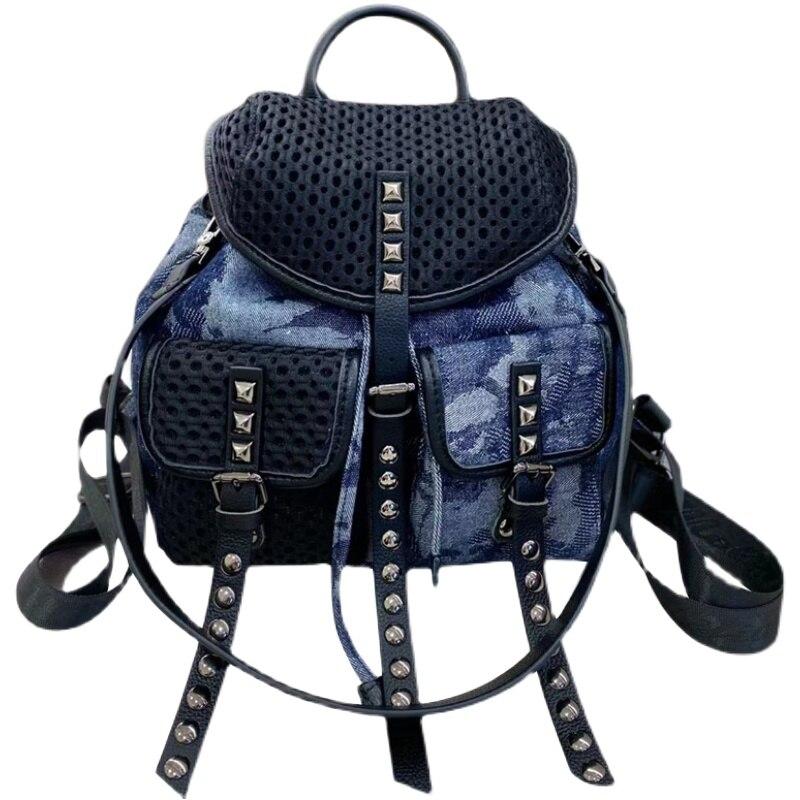 Новый брендовый женский рюкзак из денима с заклепками, ажурная дизайнерская сумка, вместительный дорожный рюкзак, 2021, Джинсовый Рюкзак, Sac A ...