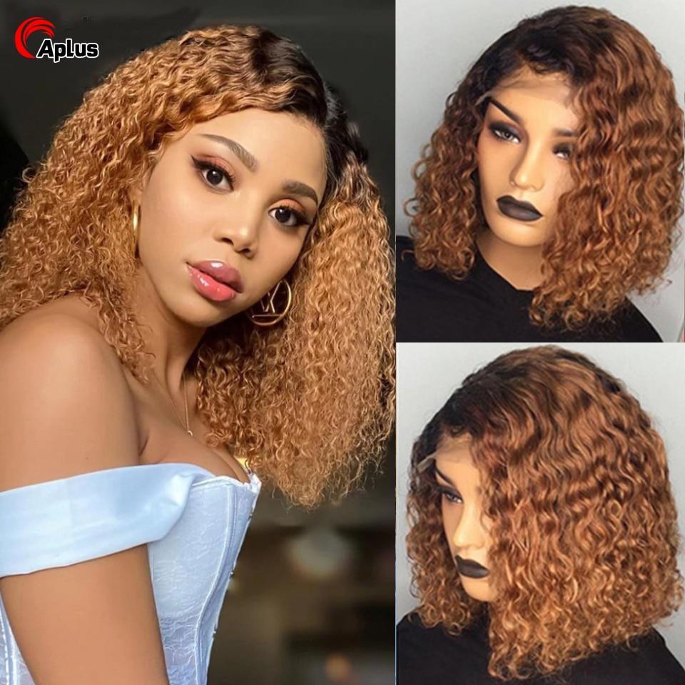 613 Blond Ombre 1B 30 99j Waterwave Wig 4X4 Lace Closure Human Hair Wigs Brazilian Blond Lacewig Short Bob Curly 100% Human Hair