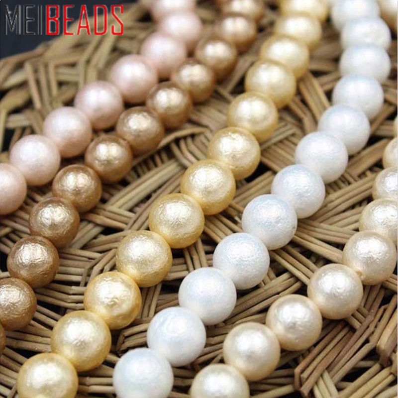 MeiBeads 6mm-10mm 30pcs/lot Natural Fresh Water Wrinkle Pearl Day Cotton Beads DIY Bracelet Necklace Ring Accessories Jewelry