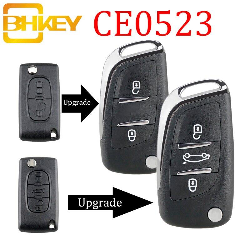 Bhkey ce0523 modificado flip dobrável chave escudo para peugeot 306 407 807 parceiro remoto va2/hu83 lâmina de entrada caso fob 2/3 botão