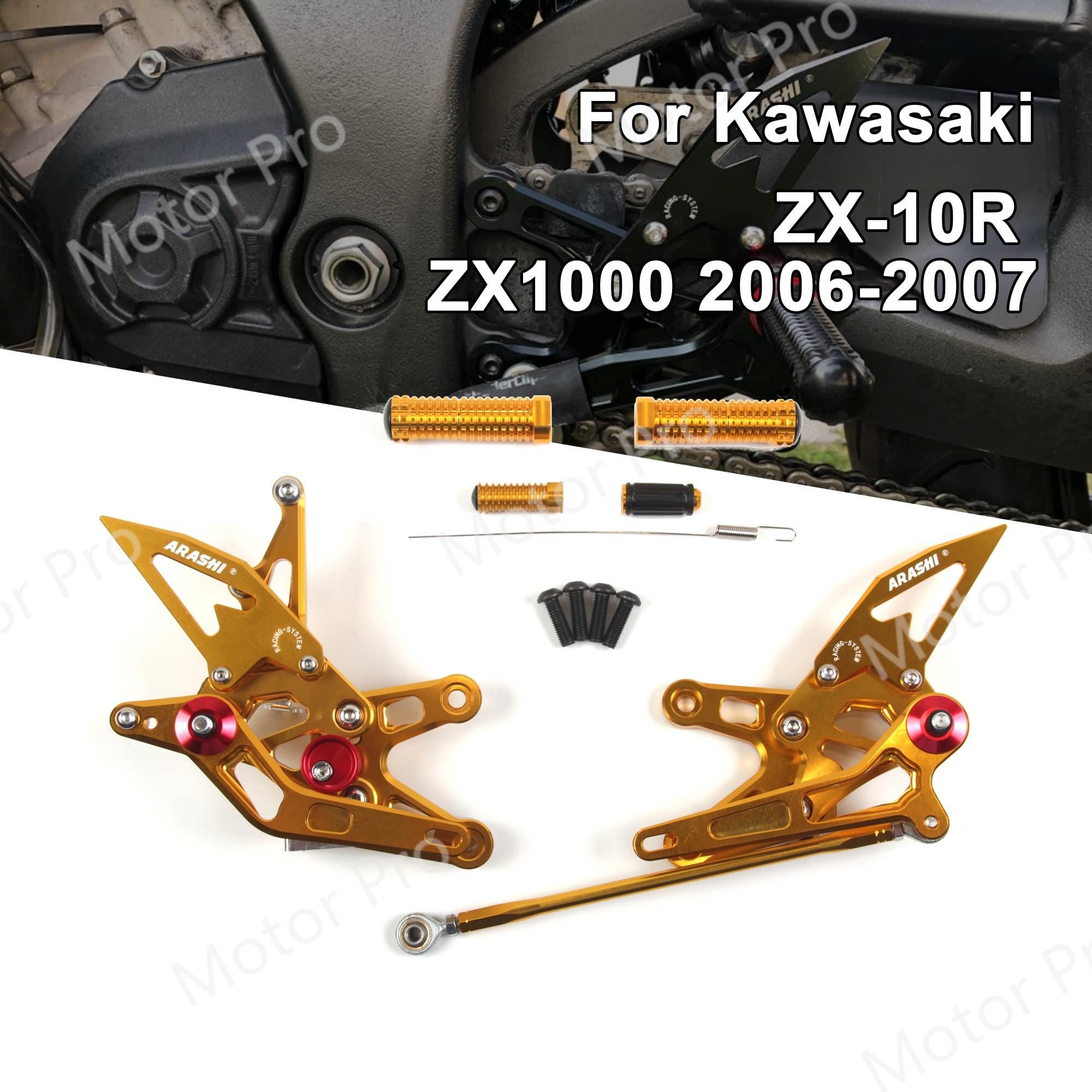 Reposapiés ajustables para Kawasaki Ninja ZX10R 2006 2007, accesorios para motocicleta, reposapiés, pedales ZX1000 ZX 1000 ZX-10R
