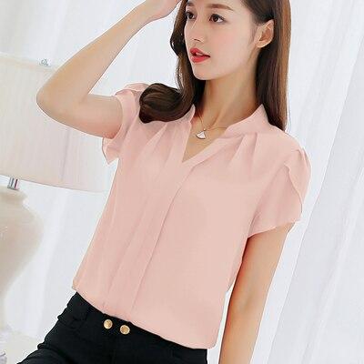 Blusa de chifn de talla grande para verano, camisa de chifn de manga corta para mujer, Top de trabajo informal, -WYS-2  - buy with discount