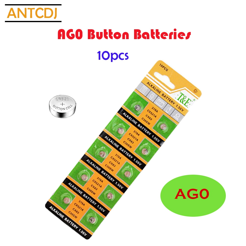 10pcs alkaline battery ag12 1 5v lr43 386 button coin cell watch toys batteries control remote sr43 186 sr1142 lr1142 2021Top Selling 10PCS 10mAh AG0 Button Batteries SR521LR63 379A Cell Coin Alkaline Battery 1.55V 379 SR63 For Watch Toys Remote