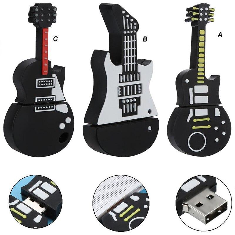 Флэш-накопитель 128 Гб 64 Гб оперативной памяти, 32 Гб встроенной памяти, гитара Форма USB флеш-накопитель музыка силиконовая Флешка флеш-накопит...
