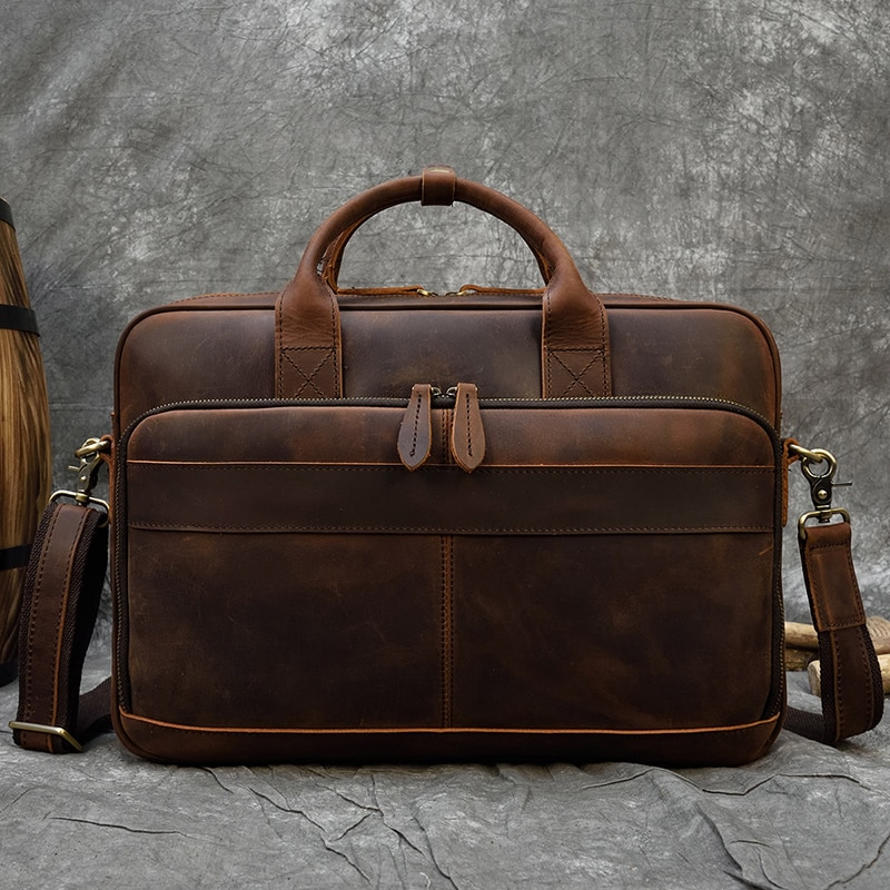 Men Briefcase Genuine Leather Laptop Bag 15.6