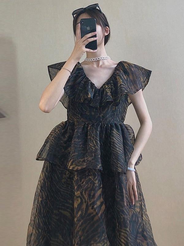 Women Dresses Summer 2021 High-waisted Slim Black Dress Female Retro Falbala V Collar Fly Sleeve Dresses Vestido De Mujer