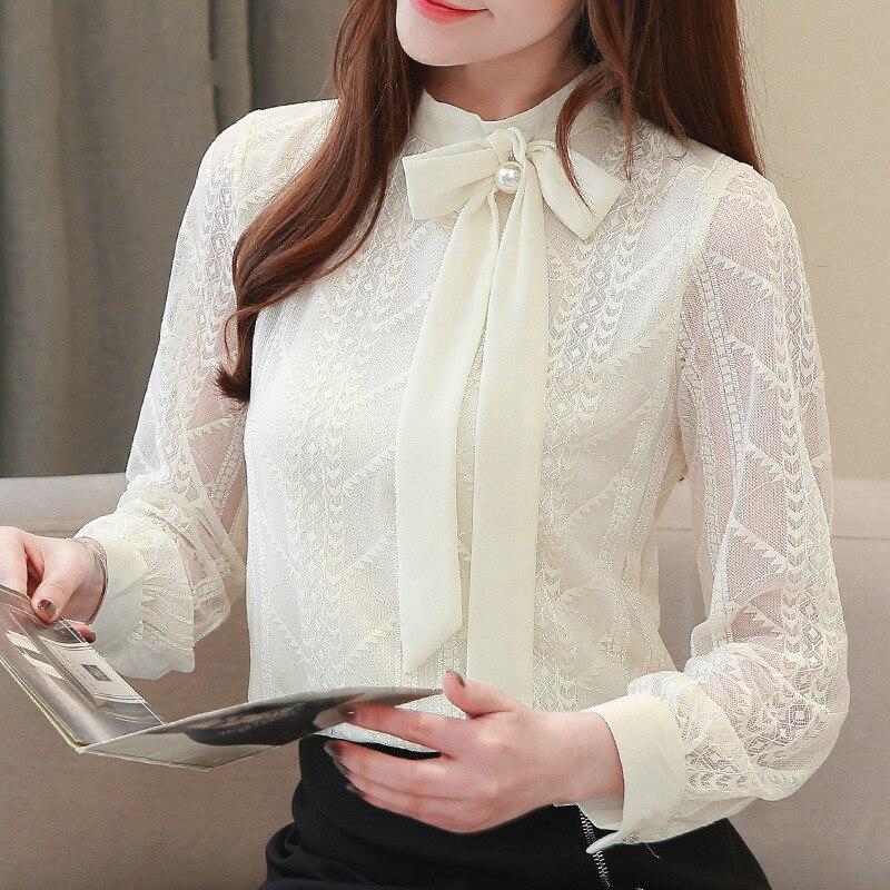 Nueva camisa de manga larga para mujer, Blusa de gasa, moda, moño, camisa casual de talla grande para oficina