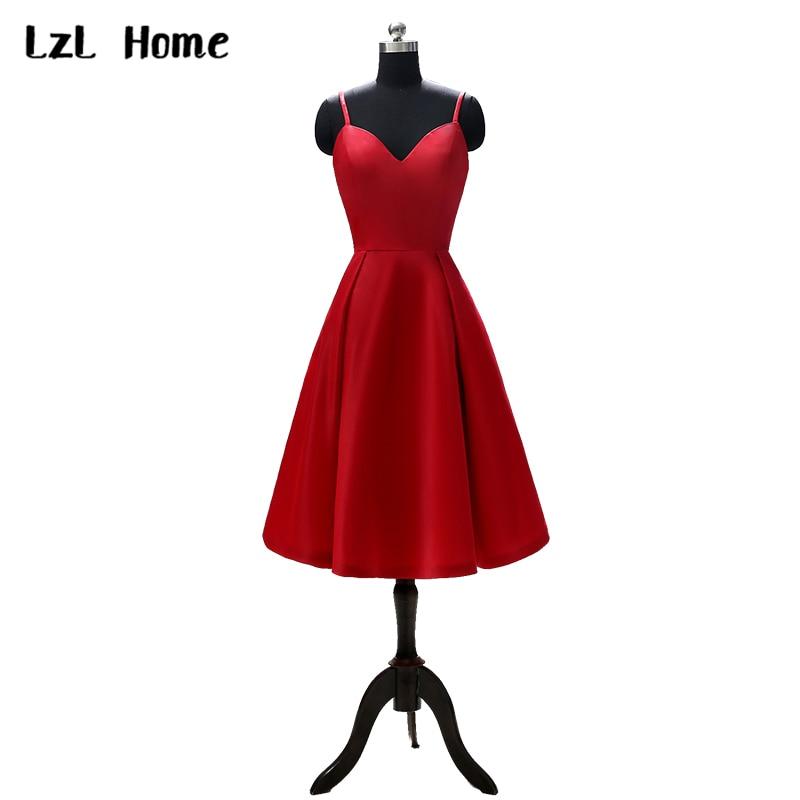 LzL Home-فستان سهرة أحمر ، مع أحزمة ، رقبة رسن ، قصير ، حفلة ، كوكتيل ، عرض خاص