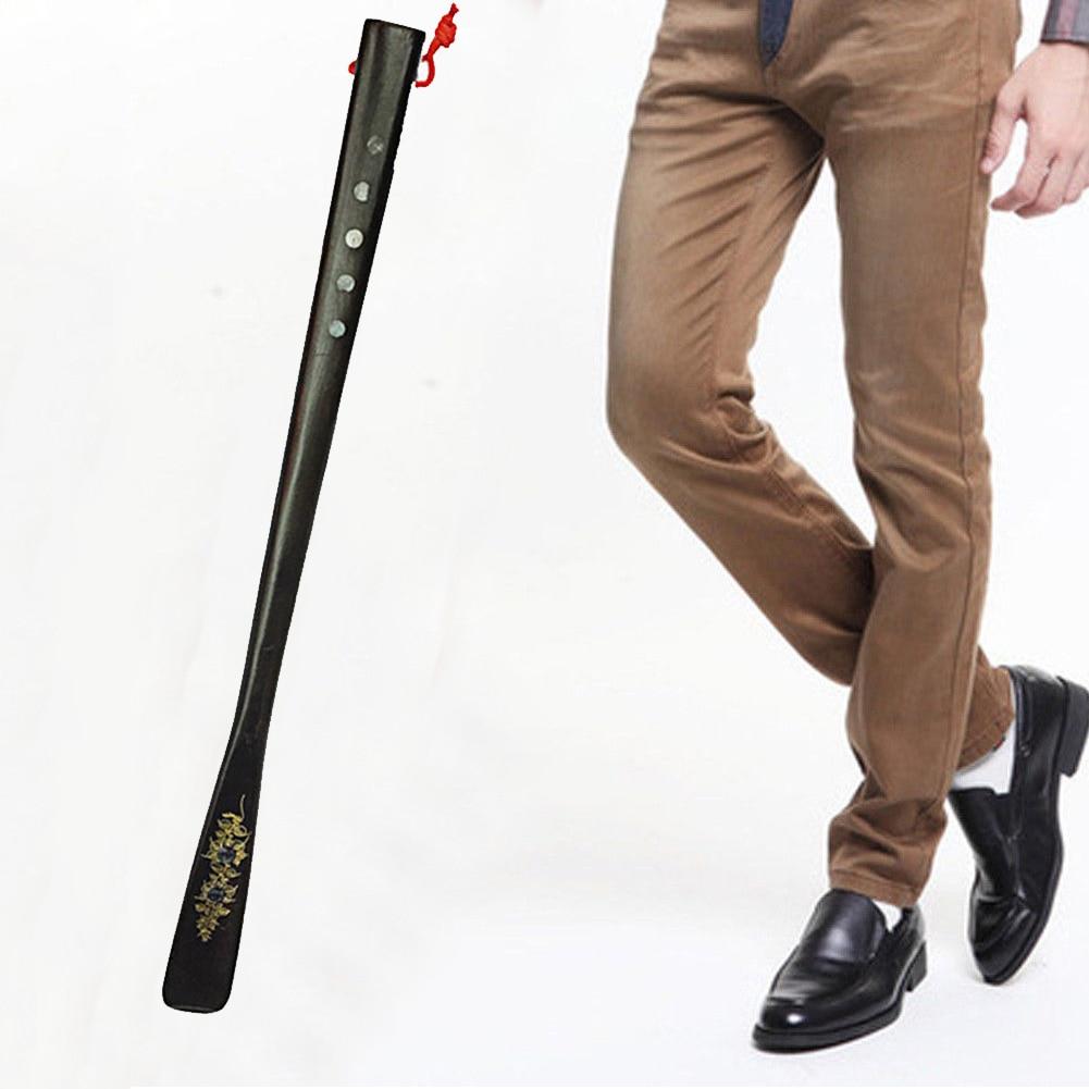 55cm profesional zapato cuerno elevador resistente personas mayores portátil para ancianos cuchara Flexible de madera de tacón alto mango largo útil hogar