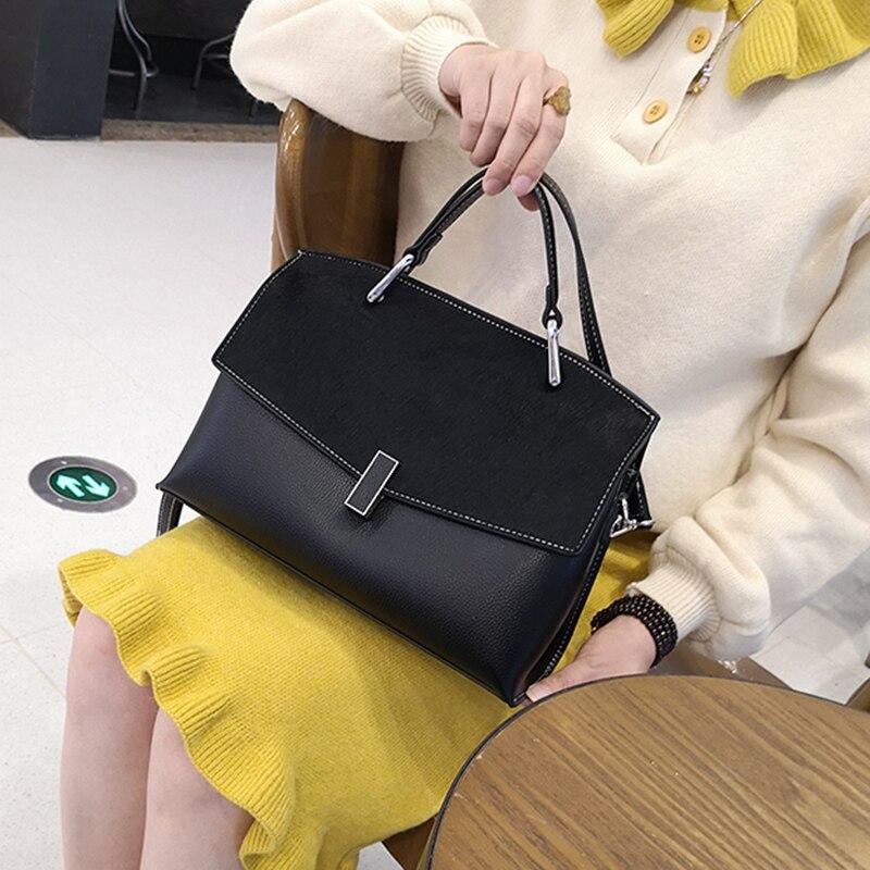 Cavalo saco de cabelo clam concha feminina bolsas moda couro genuíno mensageiro bolsa contratada grandes sacos cabelo cavalo satchels