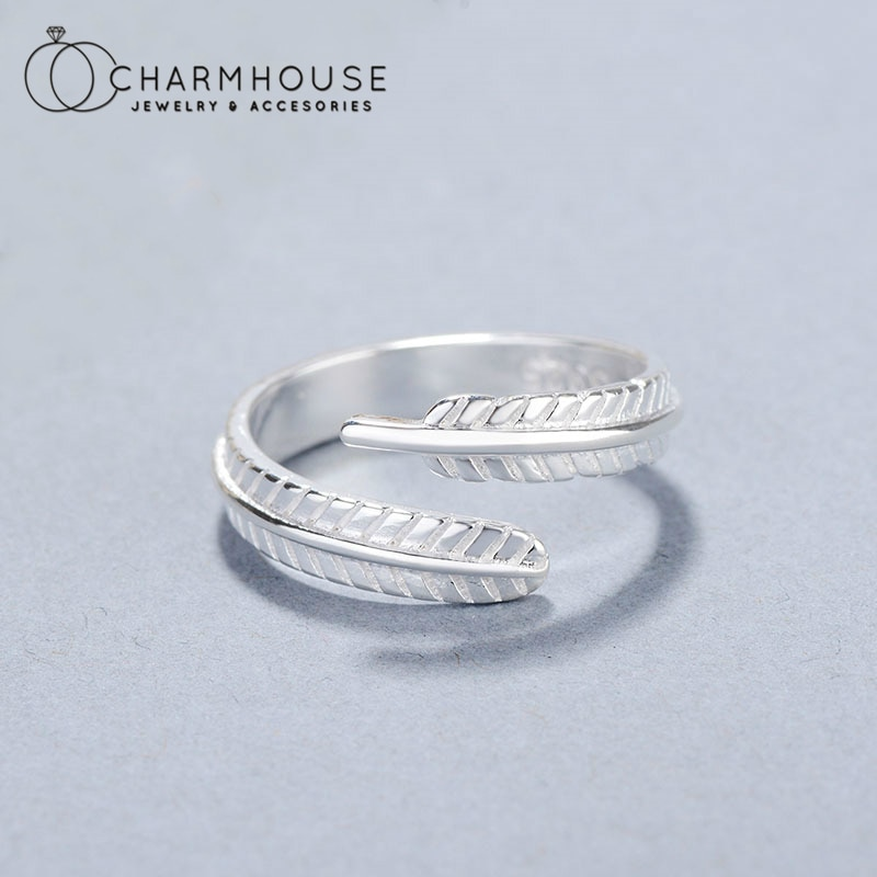 Pure Silver Finger Rings For Women Feather Open Ring Anillo Bague Femme Trendy Jewelry Accessories Bijoux Party Gifts