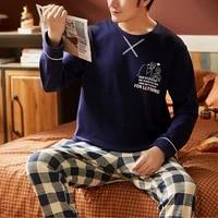 mens pajamas autumn winter warm cotton sleepwear home wear cartoon print pajama male casual long sleeve plus size sets suit