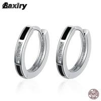 new 925 sterling silver hoop earrings for women black original fashion vintage crystal round huggie earring luxury jewelry 2021