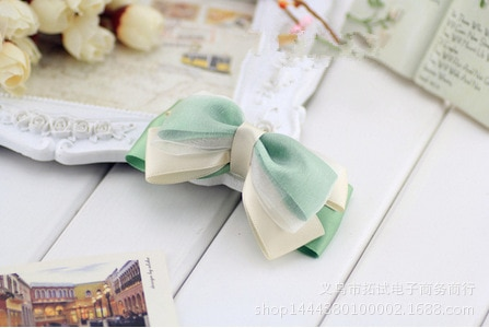 Women's new hair accessories wide cloth solid color bow temperament ribbon handmade duckbill clip hair ring spring clip