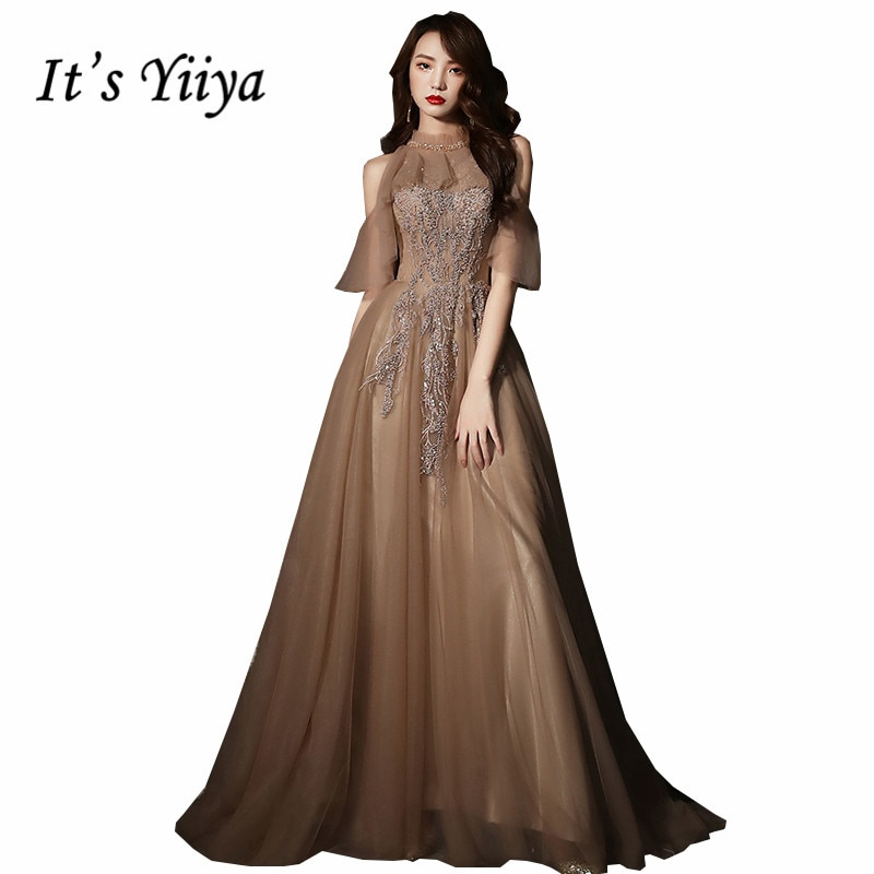 Its Yiiya Evening Gown O-Neck Ruched A-Line Sequined Plus Size Dresses for Women Short Sleeve Dress 2020 K340