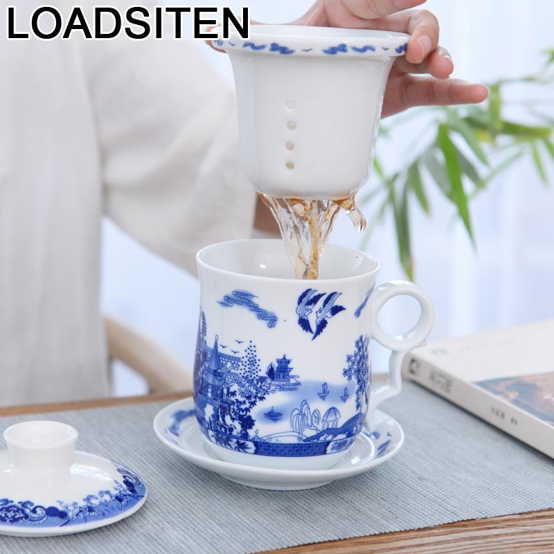 Taza de café de porcelana divertida de Taza Tasse, accesorios bonitos para botellas de agua, tazas grandes de café y leche y Taza de Viaje Caneca