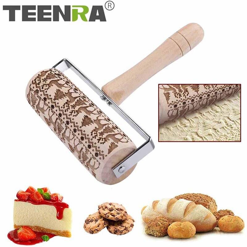 TEENRA grabado navideño rodillo de madera rodillo para hornear galletas Fondant masa para pasteles grabado rodillo herramientas para hornear