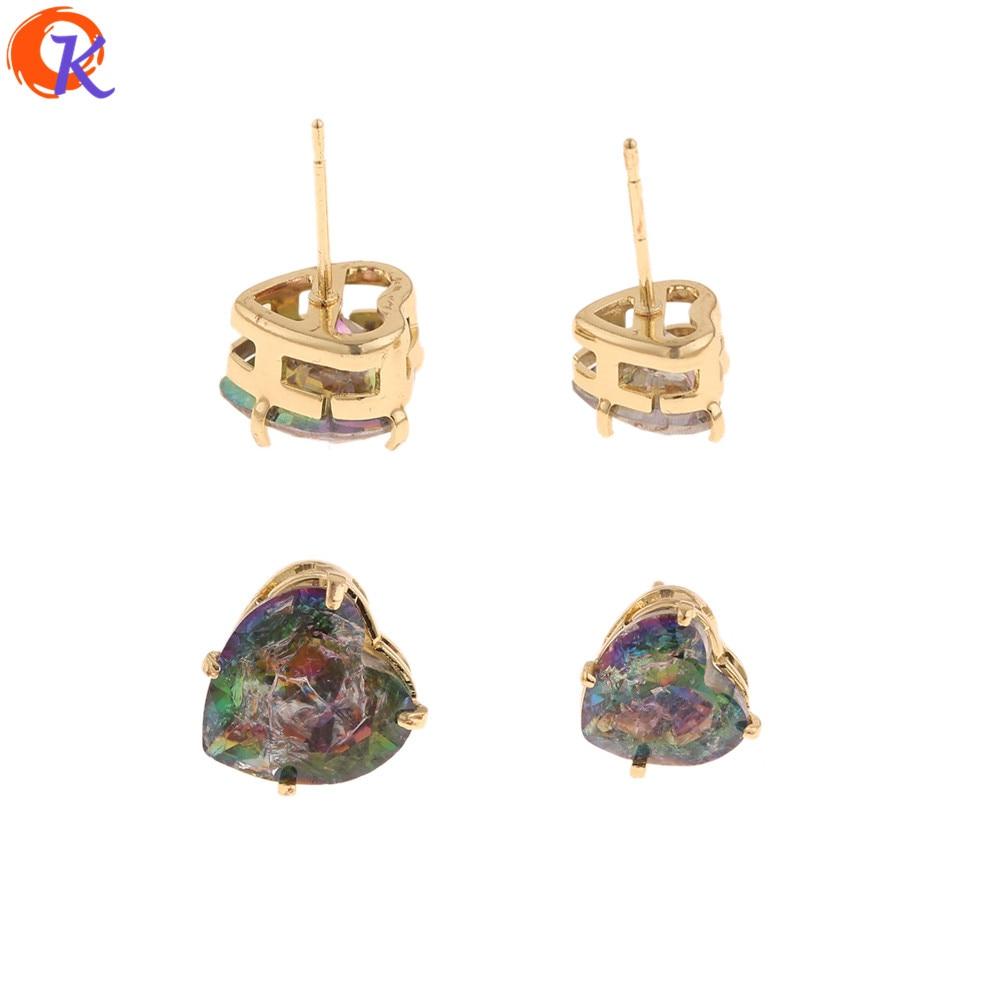 Design cordial 50 pçs moda brincos jóias/forma do coração/cz orelha parafuso prisioneiro/ab efeito de crack/brincos na moda/brincos parafuso prisioneiro para mulher