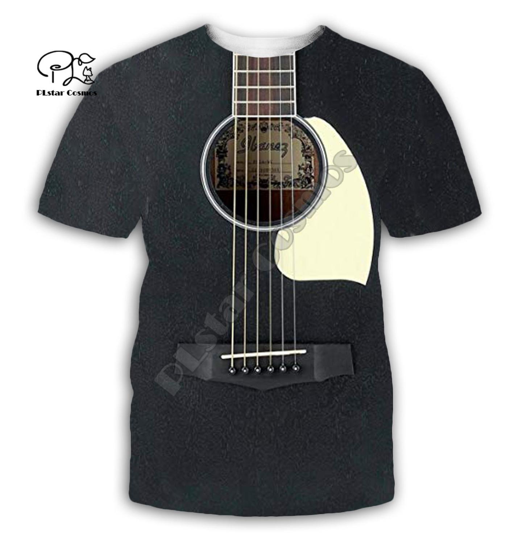 Gitarre kunst Musikalische instrument 3D volle druck mode t-shirt Unisex hip hop stil t-shirt streetwear casual sommer stil-2
